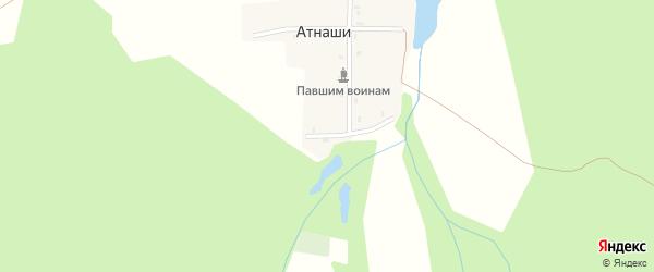 Лесная улица на карте деревни Атнашей с номерами домов