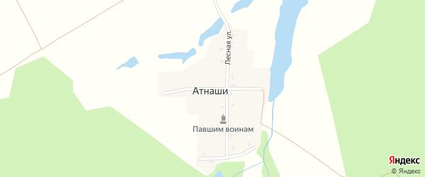 Озерная улица на карте деревни Атнашей с номерами домов