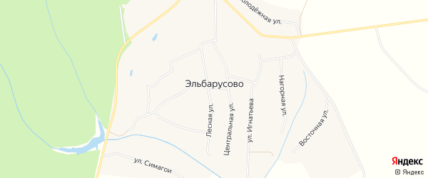 Карта деревни Эльбарусово в Чувашии с улицами и номерами домов