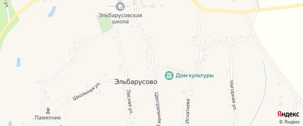 Центральная улица на карте деревни Эльбарусово с номерами домов