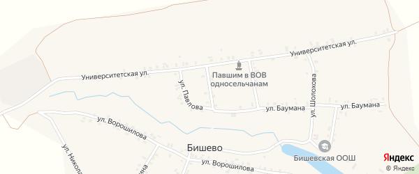 Комсомольская улица на карте деревни Бишево с номерами домов