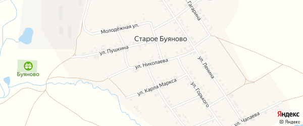Улица Николаева на карте деревни Старое Буяново с номерами домов