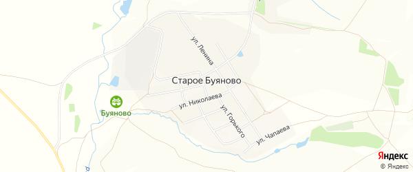 Карта деревни Старое Буяново в Чувашии с улицами и номерами домов