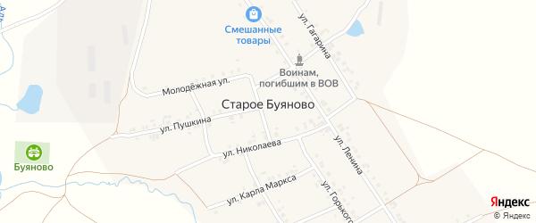 Молодежная улица на карте деревни Старое Буяново с номерами домов