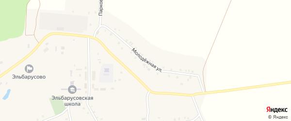 Молодежная улица на карте деревни Эльбарусово с номерами домов