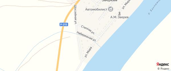Набережная улица на карте поселка Анатолии Зверева с номерами домов