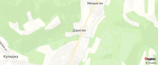 Карта села Джигии в Дагестане с улицами и номерами домов