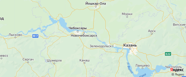 Карта Мариинско-посадского района республики Чувашия с городами и населенными пунктами