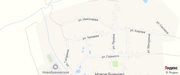 Улица Чапаева на карте деревни Новое Буяново с номерами домов