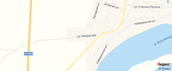 Улица Некрасова на карте села Бахтемира с номерами домов