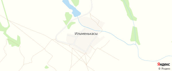 Карта деревни Ильменькас в Чувашии с улицами и номерами домов