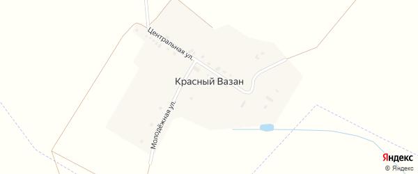 Центральная улица на карте поселка Красного Вазана с номерами домов