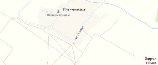 Улица Октября на карте деревни Ильменькас с номерами домов