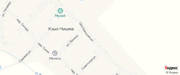 Центральная улица на карте деревни Кзыла-Чишма с номерами домов