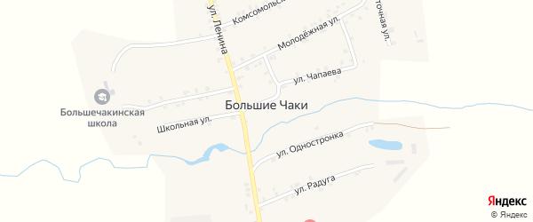 Переулок Механизаторов на карте деревни Большие Чаков с номерами домов