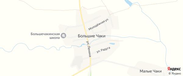 Карта деревни Большие Чаков в Чувашии с улицами и номерами домов