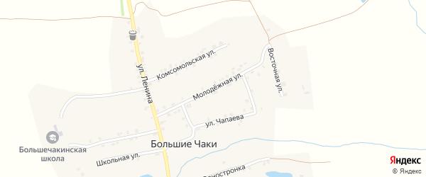 Молодежная улица на карте деревни Большие Чаков с номерами домов