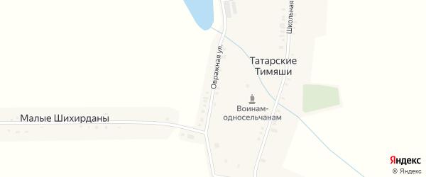 Овражная улица на карте деревни Татарские Тимяши с номерами домов