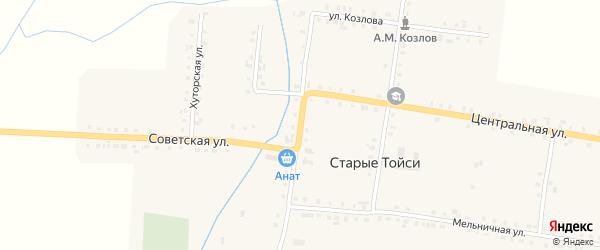 Кооперативная улица на карте деревни Старые Тойси с номерами домов
