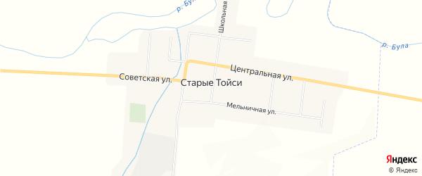 Карта деревни Старые Тойси в Чувашии с улицами и номерами домов
