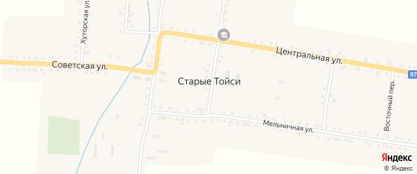 Хуторская улица на карте деревни Старые Тойси с номерами домов