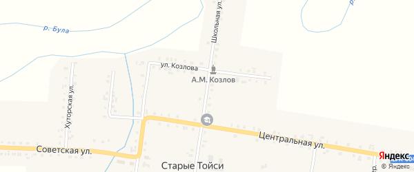 Школьная улица на карте деревни Старые Тойси с номерами домов