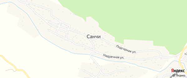 Подгорная улица на карте села Санчи с номерами домов