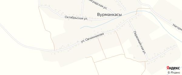 Улица Овчинникова на карте деревни Вурманкасы с номерами домов