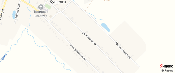 Улица Калинина на карте села Кушелги с номерами домов