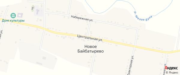 Центральная улица на карте села Новое Байбатырево с номерами домов