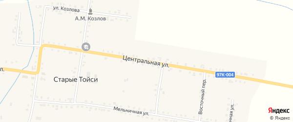 Центральная улица на карте деревни Старые Тойси с номерами домов