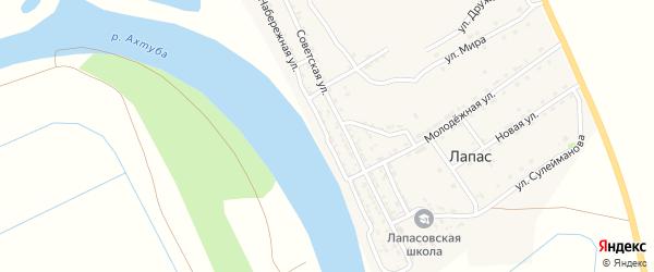 Набережная улица на карте села Лапаса с номерами домов