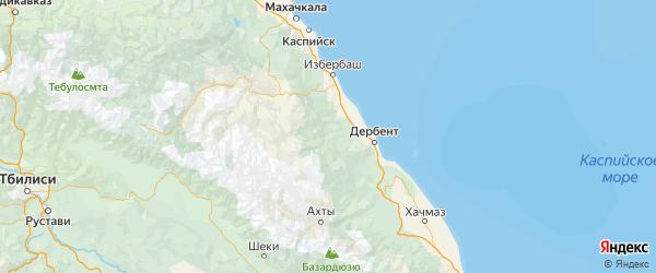 Карта Кайтагского района республики Дагестан с городами и населенными пунктами