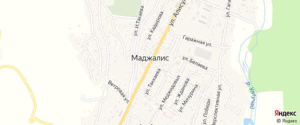 Подгорная улица на карте села Маджалиса с номерами домов
