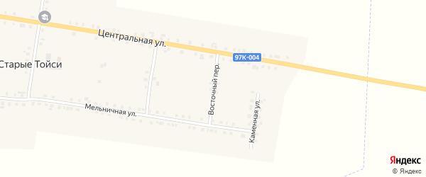 Восточный переулок на карте деревни Старые Тойси с номерами домов