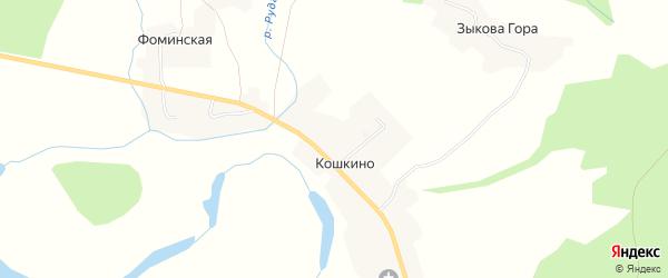 Карта деревни Кошкино в Архангельской области с улицами и номерами домов