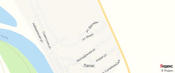 Улица Мира на карте села Лапаса с номерами домов