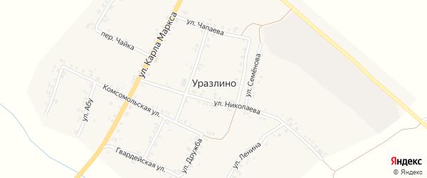 Комсомольская улица на карте деревни Уразлино с номерами домов