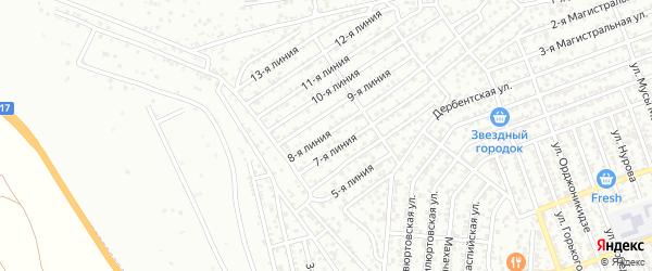 Улица 8 Марта на карте Избербаша с номерами домов