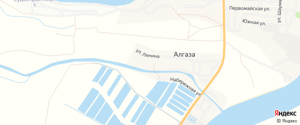 Карта села Алгаза в Астраханской области с улицами и номерами домов