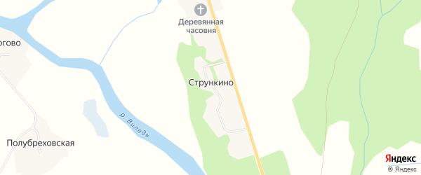 Карта деревни Стрункино в Архангельской области с улицами и номерами домов