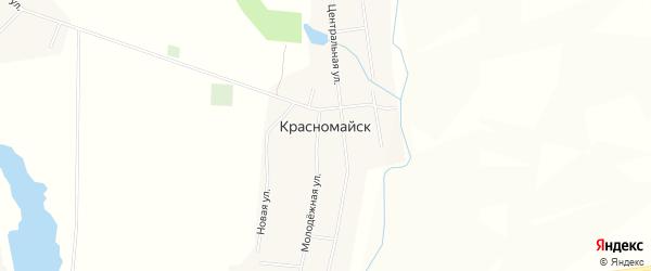 Карта деревни Красномайска в Чувашии с улицами и номерами домов