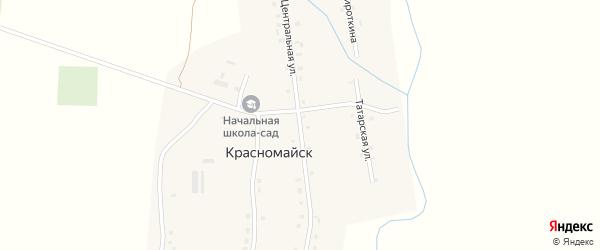 Центральная улица на карте деревни Красномайска с номерами домов