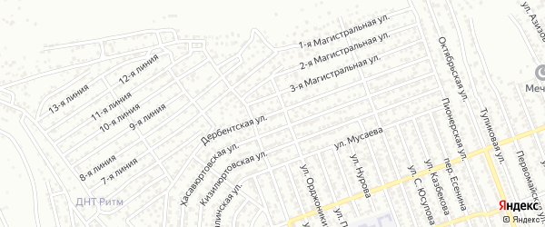 Дербентская улица на карте Избербаша с номерами домов