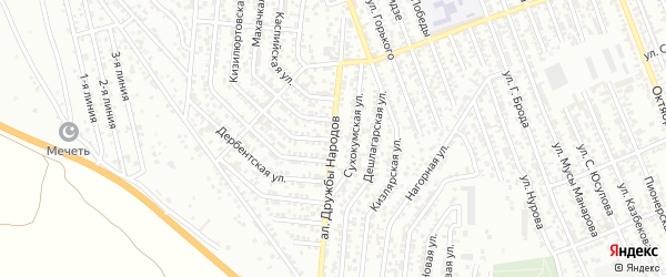 Аллея Дружбы Народов на карте Избербаша с номерами домов