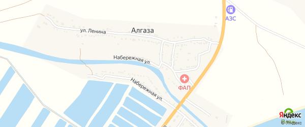 Набережная улица на карте села Алгаза с номерами домов