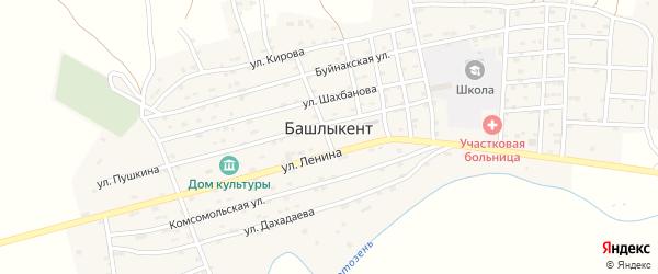 Комсомольская улица на карте села Башлыкента с номерами домов