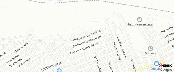 Магистральная 1-я улица на карте Избербаша с номерами домов