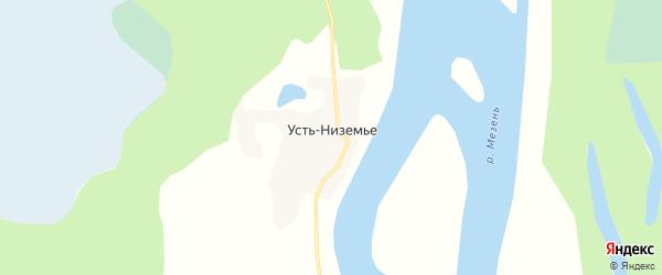 Карта деревни Устьниземье в Архангельской области с улицами и номерами домов
