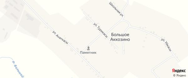Улица Уйкасы на карте деревни Большое Аккозино с номерами домов
